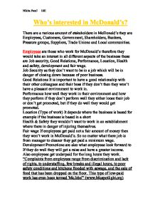 mcdonalds stakeholders Read this essay on stakeholders of mcdonalds come browse our large digital  warehouse of free sample essays get the knowledge you need in order to pass.