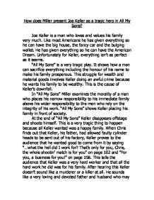 how does arthur miller present joe keller in all my sons? essay Free essays from bartleby | extent is arthur miller's 'all my sons' a critique of the   joe keller, the tragic hero of arthur miller's play all my sons, was no different   although parental love is always present, children often misunderstand or are .