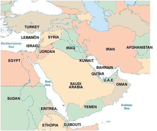 map showing uae and the arabian peninsular