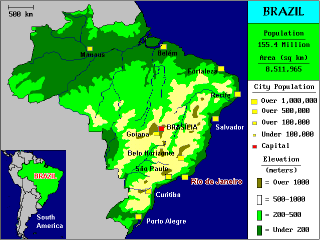 To Contrast Population Density Variation In A Country Case Study - Brazil population map