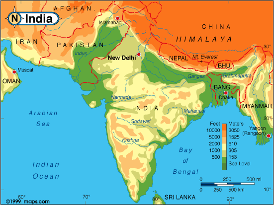 India has many economic and natural advantages that should make it india physical map elevation image00g gumiabroncs Image collections