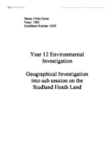 geographical investigation into sub session on the studland heath land essay A 5 year management plan for studland and godlingston heaths in dorset,   favourable, the land is being adequately conserved and is meeting targets   auld, hd (1997) 'a study of succession on lowlands heaths in dorset, southern .