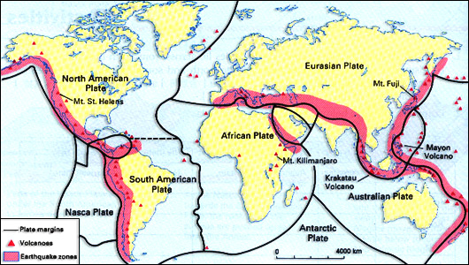 fig4 shows the distribution of earthquakes and volcanoes and how they are linked to the tectonic plate margins
