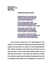richard cory poem analysis whenever richard cory went down town  page 1 zoom in