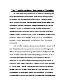 renaissance education dbq a level history marked by teachers com page 1 zoom in
