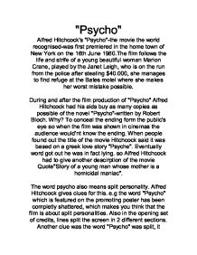 psycho essay alfred hitchcock