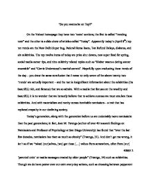 narcissism essay the societal norms of the ideal life and person  page 1 zoom in