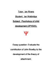 john bowlby attachment theory essay