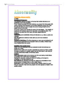 "defining abnormality towards a definition essay Abnormal psych general framework  and as social norms are now slowly leaning towards  - ability to identify the definition of ""abnormality"" in different."