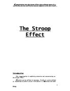 schizophrenia this essay shall discuss the various theoretical  invesigating stroop effect