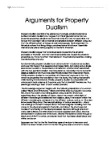 philosophy essay on dualism Free dualism papers, essays strong essays: philosophy of mind: dualism and neutral monism - this essay will discuss the topic philosophy of mind.