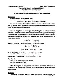 determination of ksp of copperii iodate by e m f measurement essay Solubility product constant the determination of the solubility of calcium hydroxide essay - the determination of the solubility of calcium m = 142 x 10 -2.
