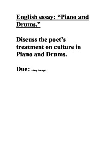 "piano and drums drums gabriel okara discuss following poem The poem titled ""piano and drums"" by gabriel okara samueldpoetry was born same theme with the poem titled ""piano and drums"" by gabriel."