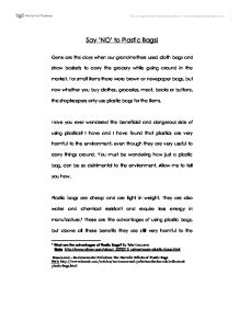 say no to polythene bags essay