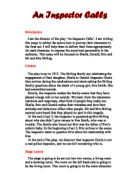 analysis of an inspector calls by j {character analysis} an inspector calls auther birling inspector goole •she is described at the start as about fifty, a rather cold yet the final phone call, announcing that a police inspector is shortly to arrive at the birlings' house to investigate the suicide of a young girl, makes us realise that.