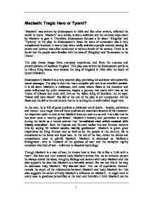 tyrant macbeth essay Macbeth - was macbeth a victim of fate or of his own ambitious choices essay by tomotre, high school, 11th grade, a-, february 2007 it is through macbeth s own actions that he becomes a tyrant.