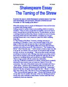 taming of the shrew essay questions Home → sparknotes → shakespeare study guides → the taming of the shrew → study questions but the taming of the shrew is unique in.