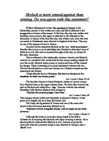 shylock is more sinned against than sinning do you agree  page 1 zoom in