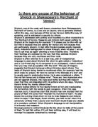 the villainous behaviors and acts exhibited in shakespeares merchant of venice Homoeroticism in merchant of venice homoeroticism in shakespeare's merchant of venice a fine line between genital sexual behavior and.