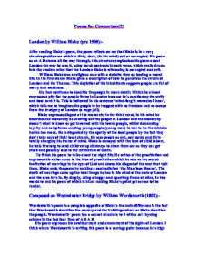 """london by william blake (pre 1900) and composed on westminster bridge by william wordsworth essay Free essay on comparison of composed upon west minster  by william wordsworth, and """"london"""", by william  upon westminster bridge' and william blake's ."""