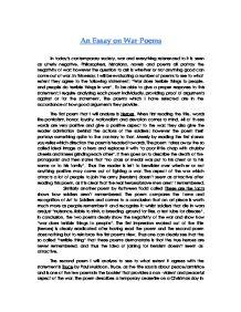 war poems comparison essay