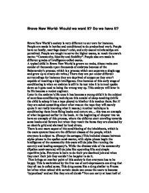 English teachers essay brave new world