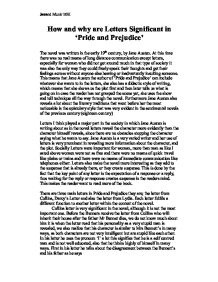 letters in pride and prejudice essays