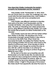 sympathy for frankenstein essay Extracts from this document introduction how does mary shelley create sympathy for the monster in frankenstein in her novel, 'frankenstein', mary shelley.