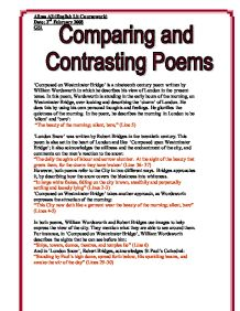 gcse english comparing poems essay One of the ways in which you might be asked to do this is to compare two poemswhen comparing poems you need to as part of the gcse english the essay here.
