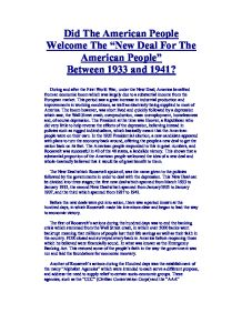 did the new deal deliver a new deal for the american people essay On this day in 1949, president harry s truman announces, in his state of the union address, that every american has a right to expect from our government a fair deal after his landslide re-election in 1948, truman managed to convince congress to pass several of his liberal reforms it almost.