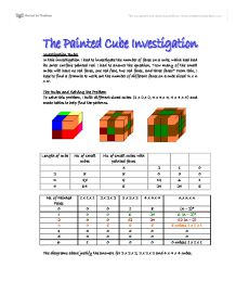 painted cubes investigation coursework