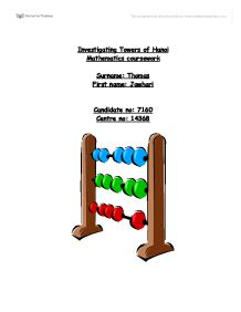 towers of hanoi coursework