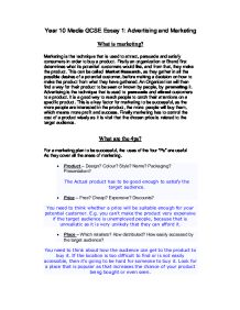 aqa marketing essay   gcse media studies   marked by teacherscom