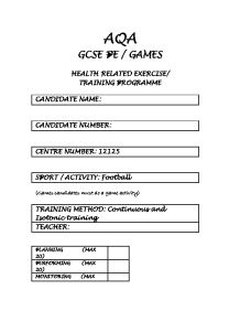 aqa as pe coursework We are in the thick of the coursework at the moment and everything is going well untili get to my dancershe is on target for an a grade so i want to support her as best possible obviously its a different set-up for a non-games player so any support / ideas are more than welcome thank you.