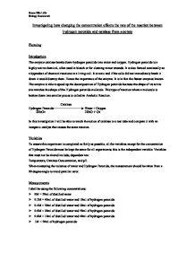 GCSE CHEMISTRY RATES OF REACTION COURSEWORK | Anjelina Qureshi
