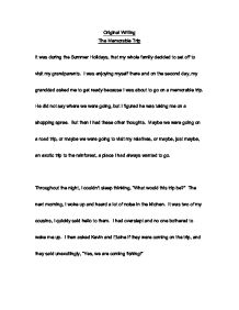 Memorable trip Essay Sample