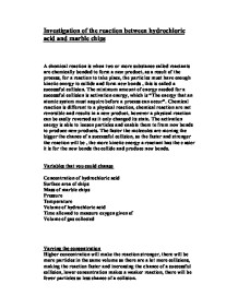 chemistry marble chips coursework What is collision theory terrorism essay in english with quotations anjelina qureshi mrs gravell rates of marble chips and hydrochloric acid coursework reaction.