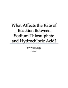 chemistry coursework rate of reaction sodium thiosulphate
