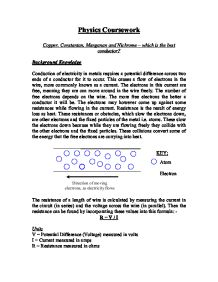 resistance of a wire coursework conclusion