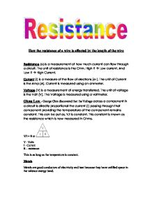 science coursework resistance Electricity - what is resistance and ohm's law in gcse physics.