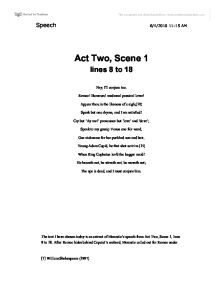 romeo and juliet act 2 scene 1 oral essay Romeo and juliet movie comparison paper by: shelby campbell romeo and juliet is a tragic play written by the very famous william shakespeare.