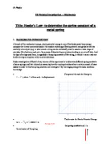 ib physics hookes law lab essay Investigating hooke's law aim this experiment is aimed to investigate the relationship between the physics essay writing service essays more.