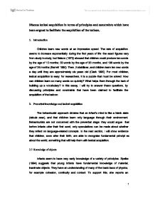 principles of linguistic essay Language acquisition principles for ell students abstract within this paper we  will take a brief look at the language acquisition principles and how they work.