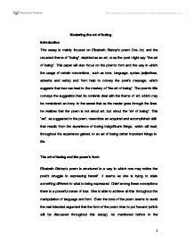 this essay is mainly focused on elizabeth bishops poem one art page 1 zoom in