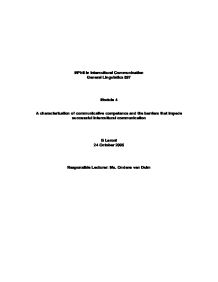 A characterization of communicative competence and the