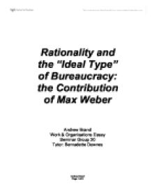 max weber ideal bureaucracy