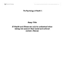 sociology in health and illness an essay