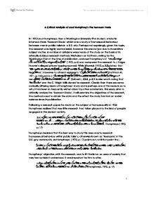 Laud Humphreys and the Tearoom Sex Study