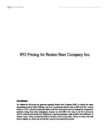Boston beer company ipo case study